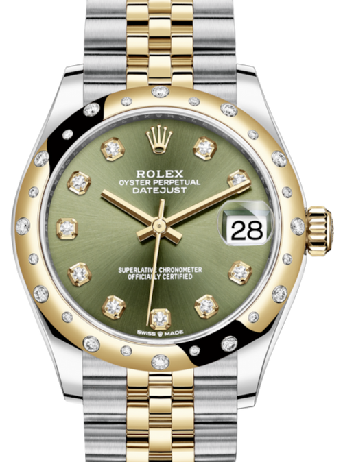 Ladies Rolex Lady-Datejust 31 Yellow Gold/Steel Olive Green Diamond Dial & Domed Set with Diamonds Bezel Jubilee Bracelet 278343RBR - BRAND NEW - Global Timez