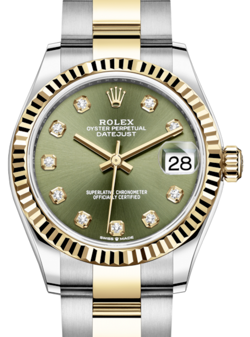 Ladies Rolex Lady-Datejust 31 Yellow Gold/Steel Olive Green Diamond Dial & Fluted Bezel Oyster Bracelet 278273 - BRAND NEW