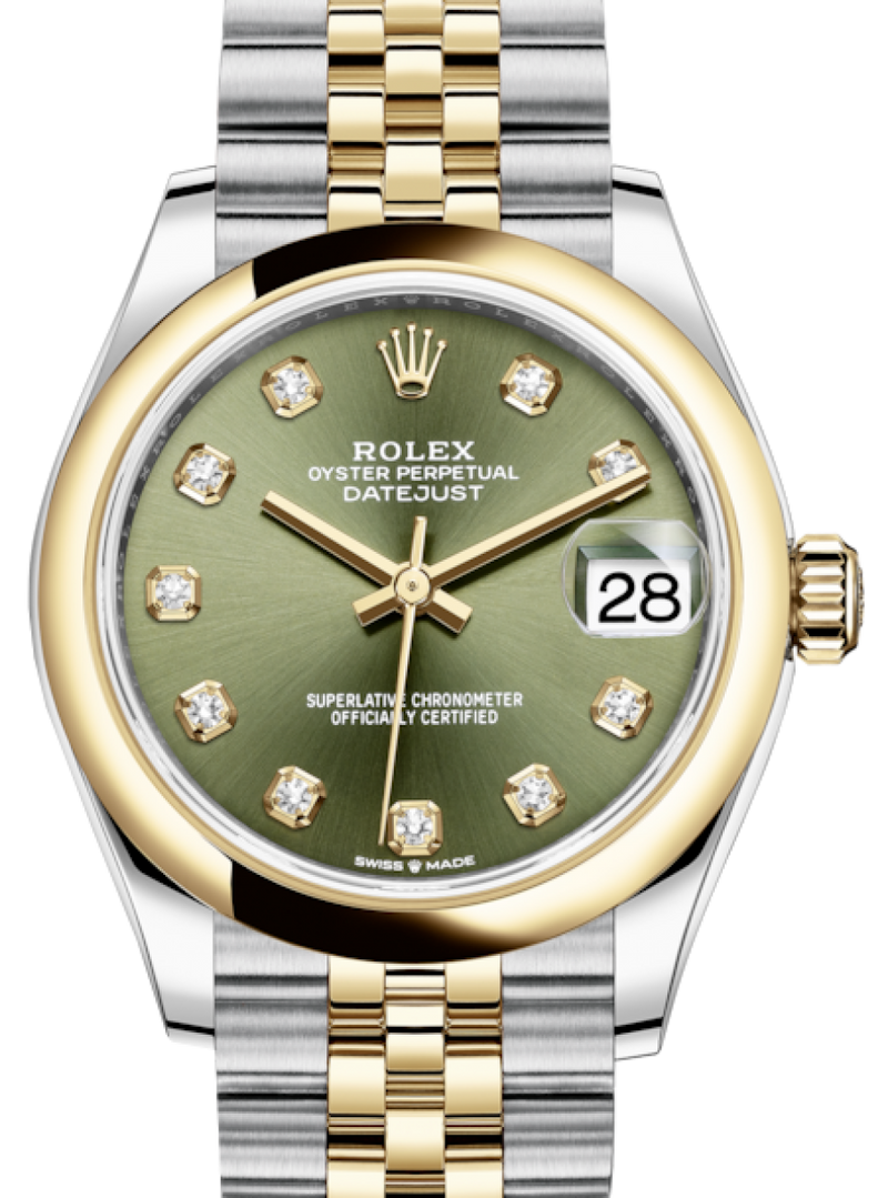 Ladies Rolex Lady-Datejust 31 Yellow Gold/Steel Olive Green Diamond Dial & Smooth Domed Bezel Jubilee Bracelet 278243 - BRAND NEW