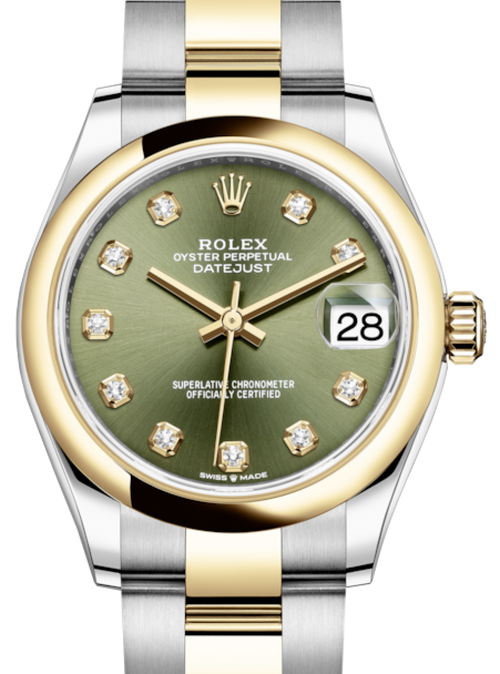 Ladies Rolex Lady-Datejust 31 Yellow Gold/Steel Olive Green Diamond Dial & Smooth Domed Bezel Oyster Bracelet 278243 - BRAND NEW - Global Timez