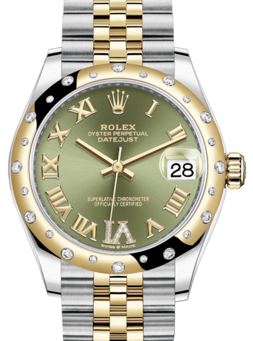 Ladies Rolex Lady-Datejust 31 Yellow Gold/Steel Olive Green Roman Diamond VI Dial & Domed Set with Diamonds Bezel Jubilee Bracelet 278343RBR - BRAND NEW - Global Timez