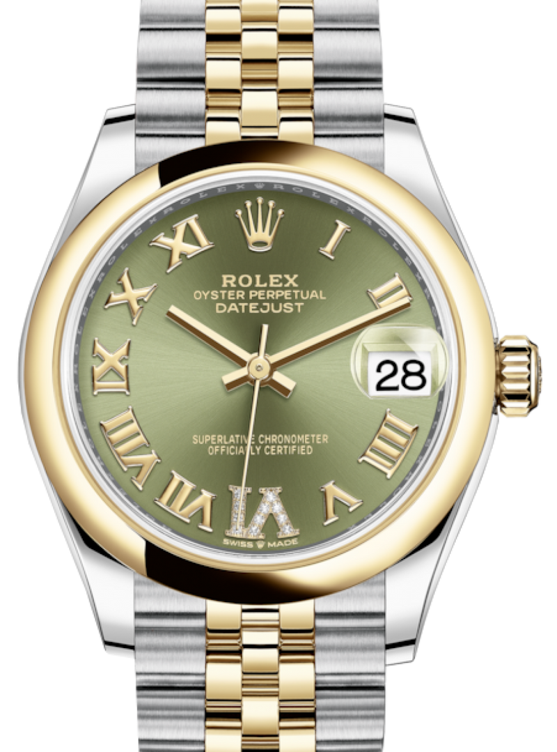 Ladies Rolex Lady-Datejust 31 Yellow Gold/Steel Olive Green Roman Diamond VI Dial & Smooth Domed Bezel Jubilee Bracelet 278243 - BRAND NEW