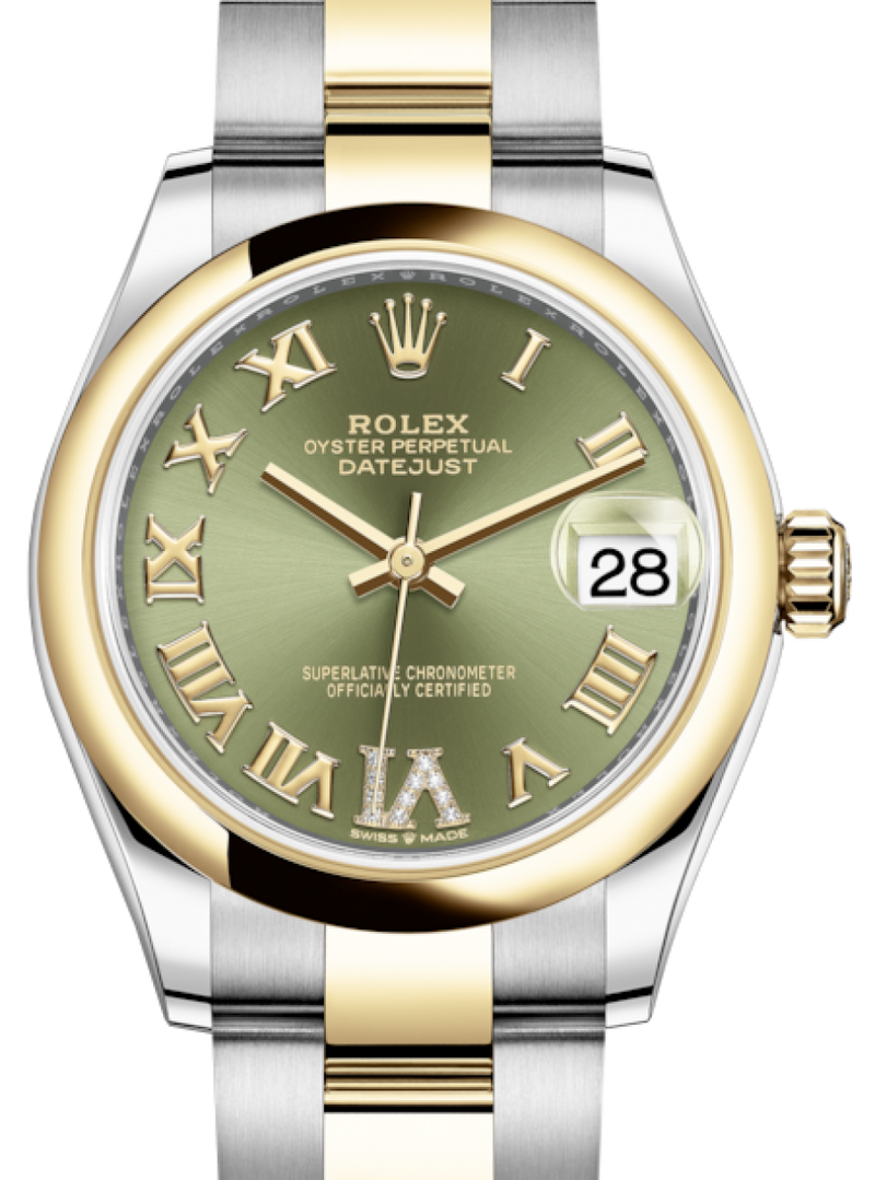 Ladies Rolex Lady-Datejust 31 Yellow Gold/Steel Olive Green Roman Diamond VI Dial & Smooth Domed Bezel Oyster Bracelet 278243 - BRAND NEW