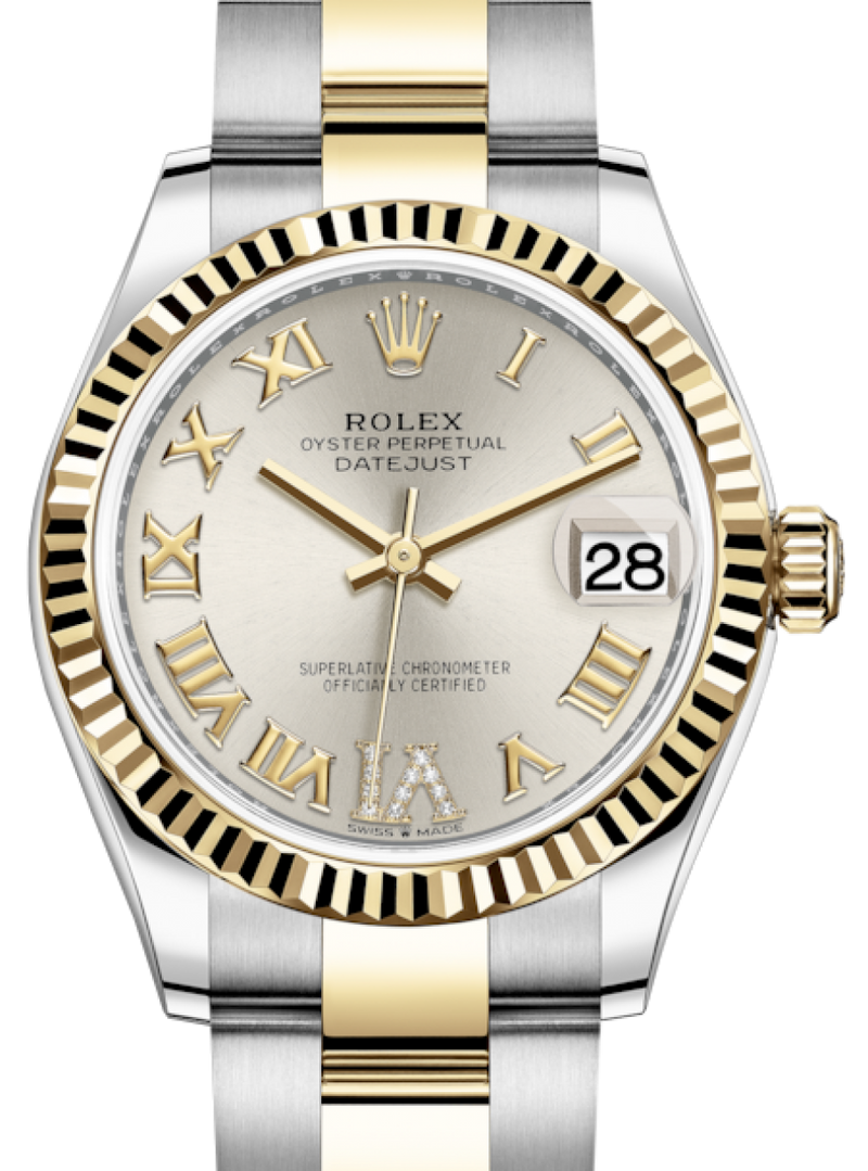 Ladies Rolex Lady-Datejust 31 Yellow Gold/Steel Silver Roman Diamond VI Dial & Fluted Bezel Oyster Bracelet 278273 - BRAND NEW