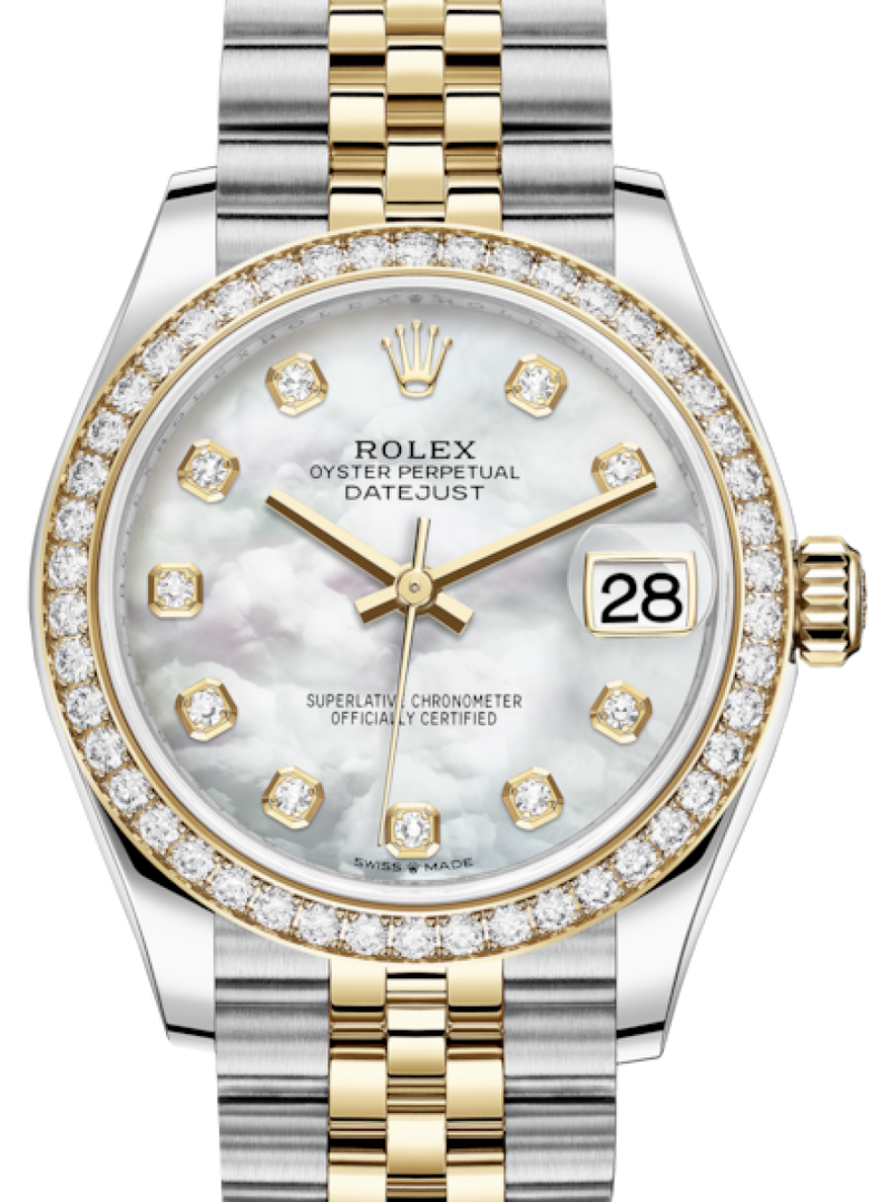 Ladies Rolex Lady-Datejust 31 Yellow Gold/Steel White Mother of Pearl Diamond Dial & Diamond Bezel Jubilee Bracelet 278383RBR - BRAND NEW