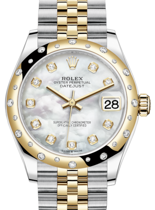 Ladies Rolex Lady-Datejust 31 Yellow Gold/Steel White Mother of Pearl Diamond Dial & Domed Set with Diamonds Bezel Jubilee Bracelet 278343RBR - BRAND NEW - Global Timez
