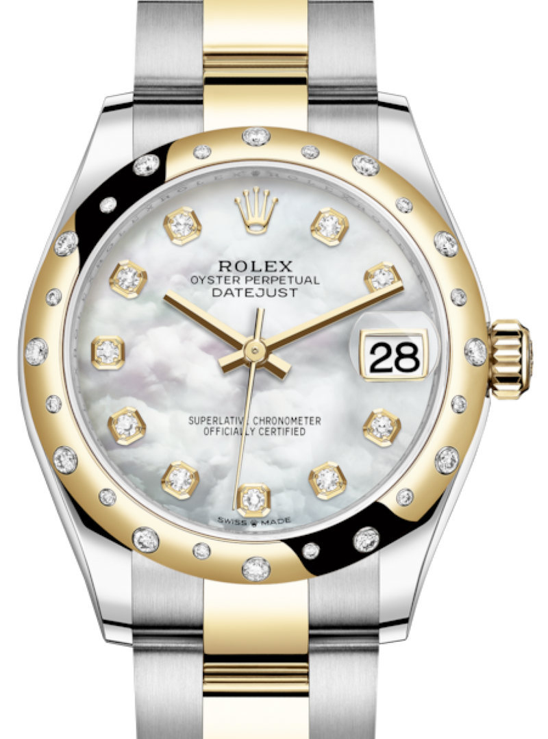 Ladies Rolex Lady-Datejust 31 Yellow Gold/Steel White Mother of Pearl Diamond Dial & Domed Set with Diamonds Bezel Oyster Bracelet 278343RBR - BRAND NEW