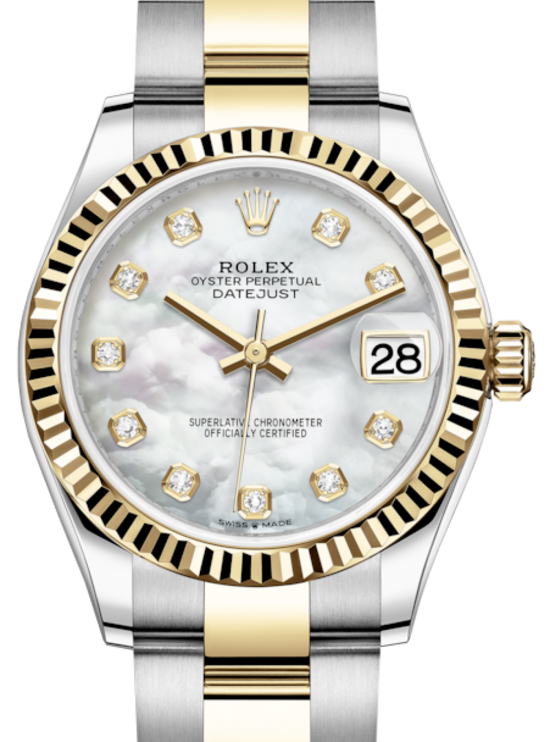 Ladies Rolex Lady-Datejust 31 Yellow Gold/Steel White Mother of Pearl Diamond Dial & Fluted Bezel Oyster Bracelet 278273 - BRAND NEW
