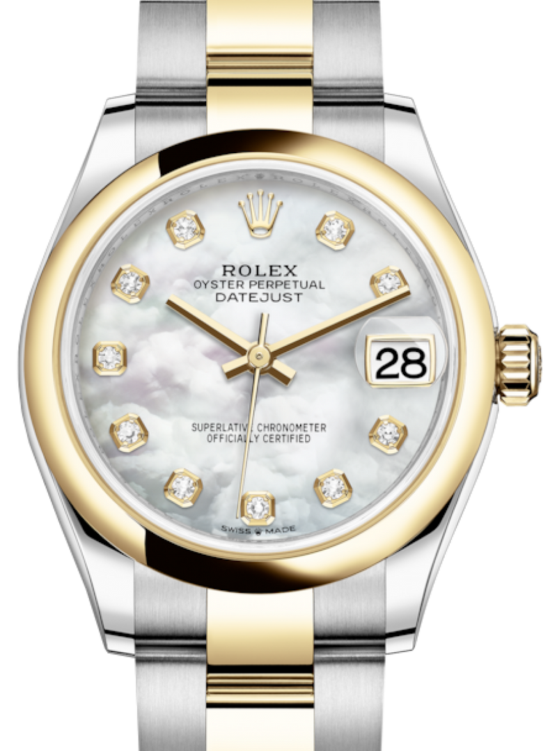 Ladies Rolex Lady-Datejust 31 Yellow Gold/Steel White Mother of Pearl Diamond Dial & Smooth Domed Bezel Oyster Bracelet 278243 - BRAND NEW