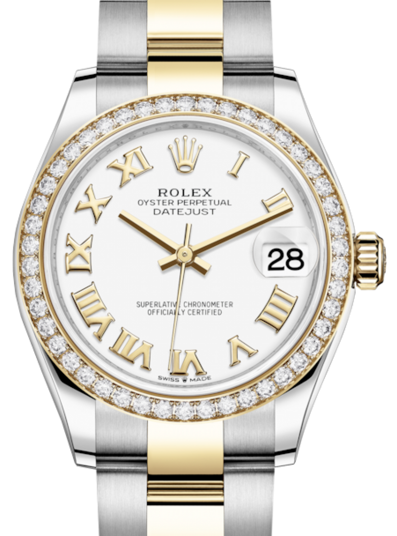 Ladies Rolex Lady-Datejust 31 Yellow Gold/Steel White Roman Dial & Diamond Bezel Oyster Bracelet 278383RBR - BRAND NEW