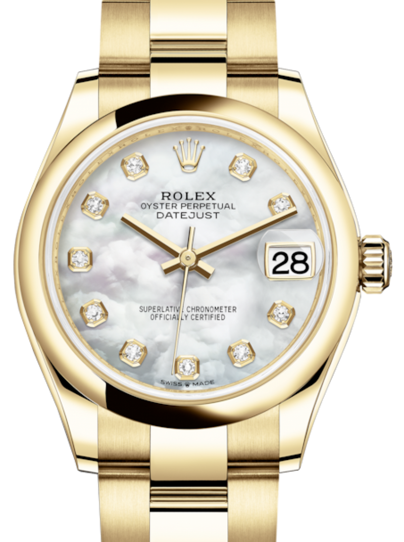Ladies Rolex Lady-Datejust 31 Yellow Gold White Mother of Pearl Diamond Dial & Smooth Domed Bezel Oyster Bracelet 278248 - BRAND NEW