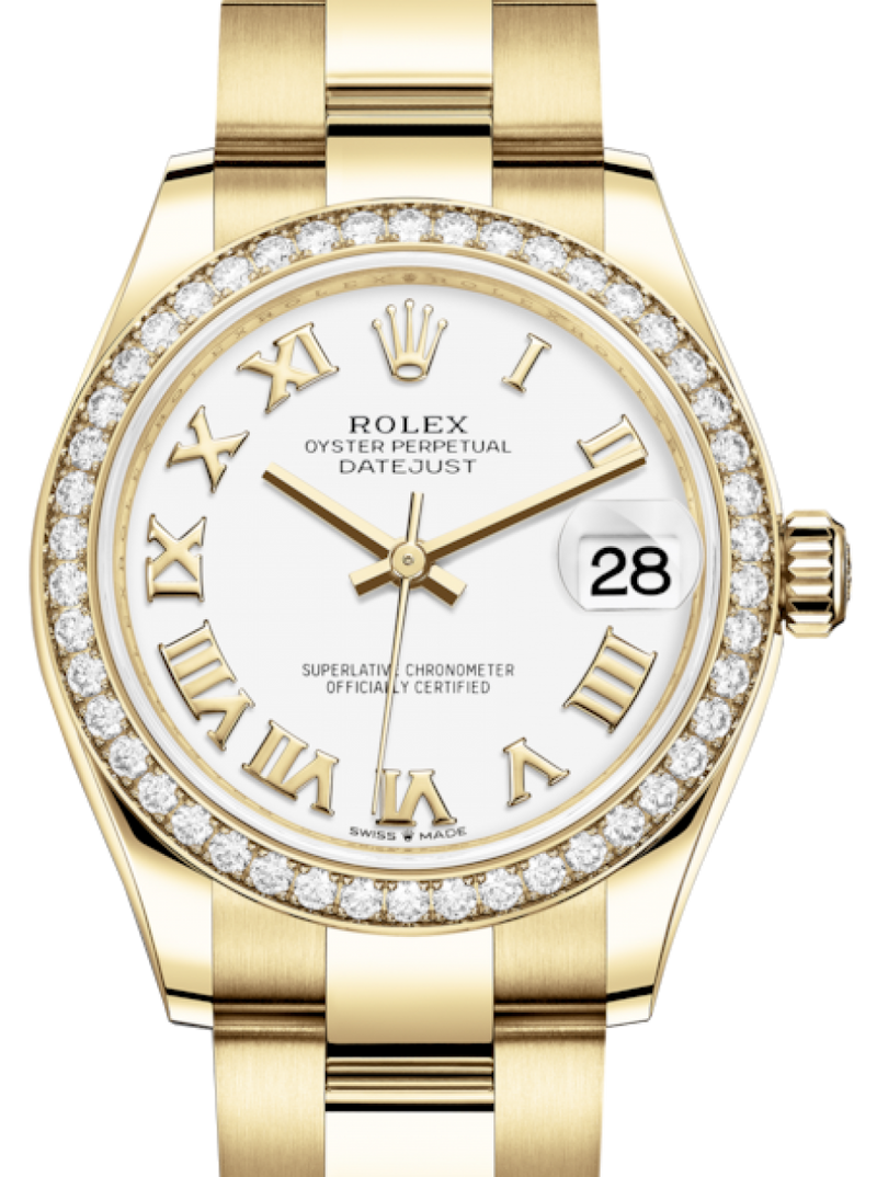 Ladies Rolex Lady-Datejust 31 Yellow Gold White Roman Dial & Diamond Bezel Oyster Bracelet 278288RBR - BRAND NEW