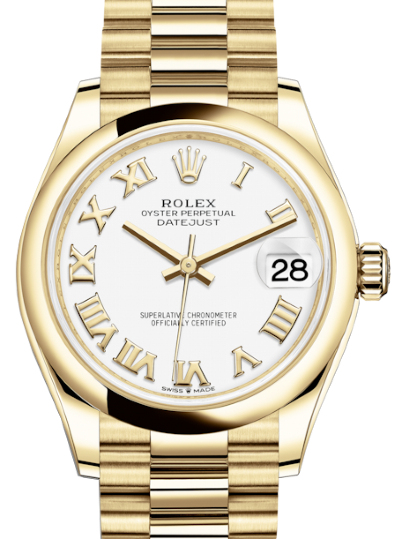 Ladies Rolex Lady-Datejust 31 Yellow Gold White Roman Dial & Smooth Domed Bezel President Bracelet 278248 - BRAND NEW