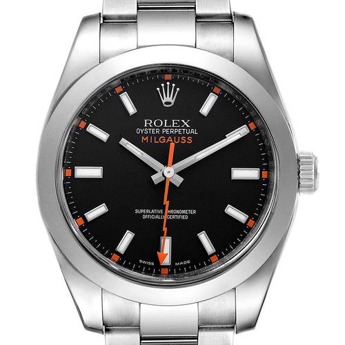 Men's Rolex Milgauss Black Dial Domed Bezel Steel Men's Watch 116400 PRE-OWNED - Global Timez