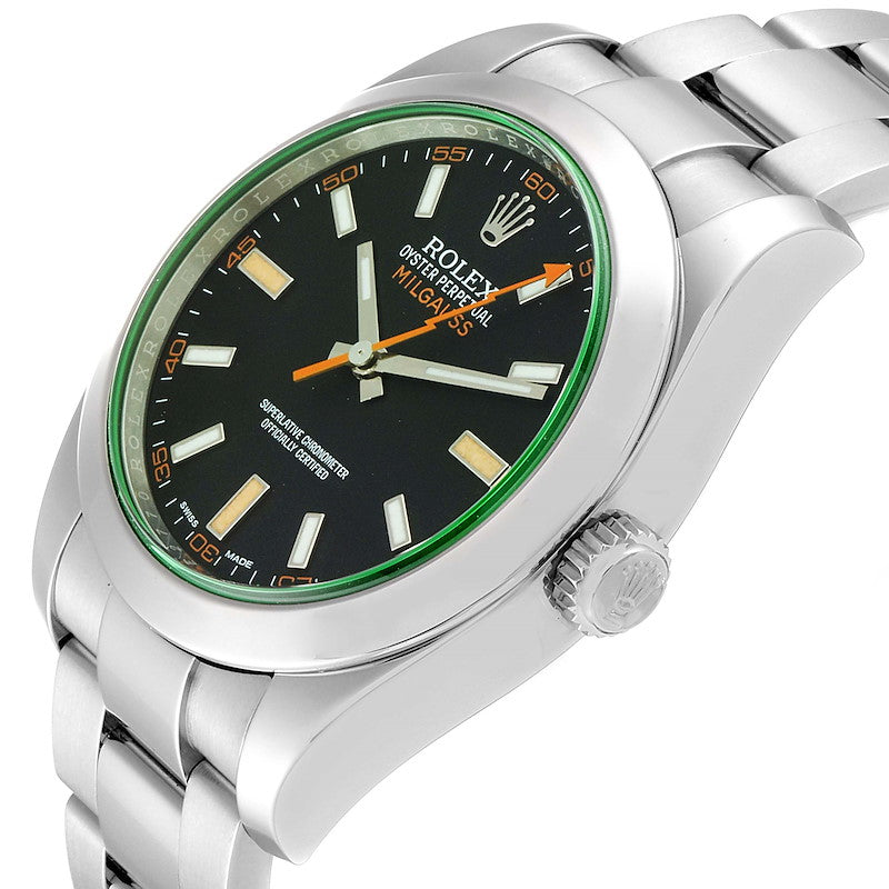 Men's Rolex Milgauss Blue Dial Green Crystal Steel Men's Watch 116400V PRE-OWNED
