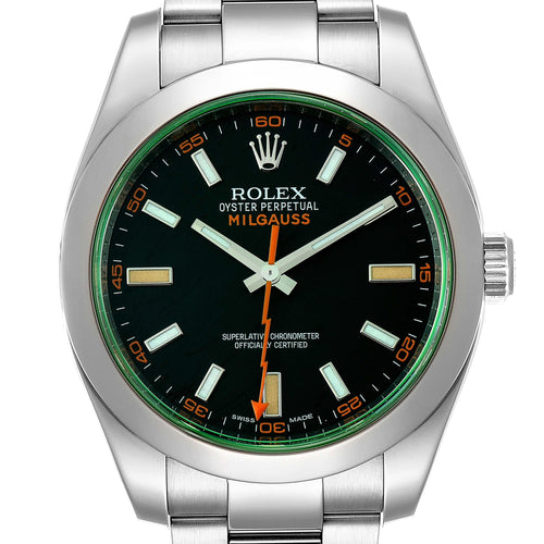 Men's Rolex Milgauss Black Dial Green Crystal Steel Men's Watch 116400V Box Card PRE-OWNED - Global Timez