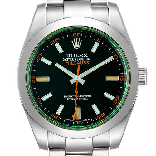 Men's Rolex Milgauss Green Crystal Steel Men's Watch 116400V Box Card PRE-OWNED