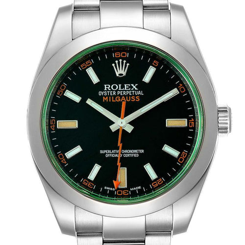 Men's Rolex Milgauss Black Dial Green Crystal Men's Watch 116400V Box Card PRE-OWNED - Global Timez