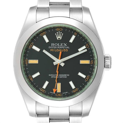 Rolex Milgauss Black Dial Green Domed Bezel Crystal Men's Watch 116400V PRE-OWNED - Global Timez