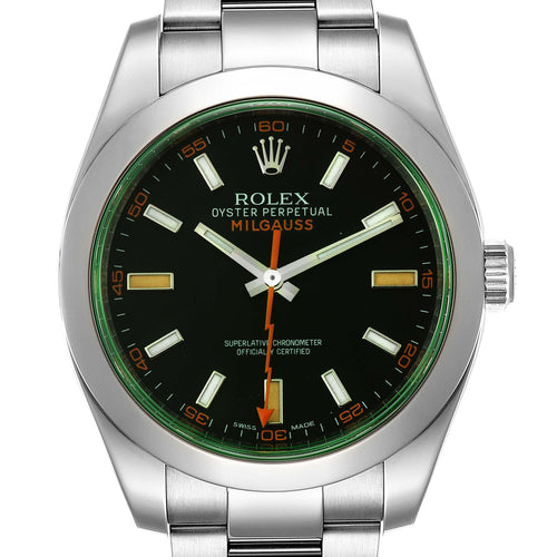 Men's Rolex Milgauss Black Dial Green Crystal Steel Men's Watch 116400V PRE-OWNED - Global Timez
