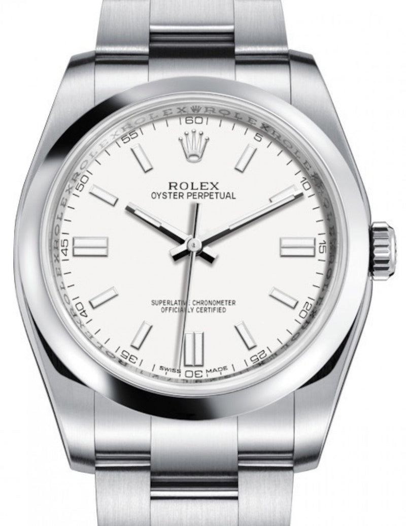 Men's Rolex Oyster Perpetual 36 Stainless Steel White Index Dial & Domed Bezel Oyster Bracelet 116000 - BRAND NEW
