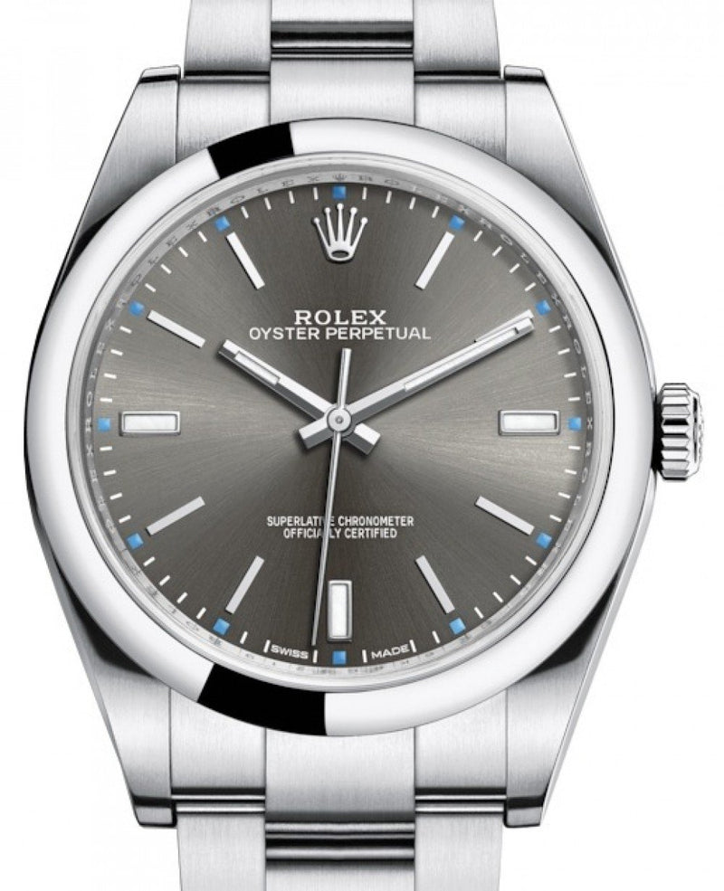 Men's Rolex Oyster Perpetual 39 Stainless Steel Dark Rhodium Index Dial & Smooth Bezel Oyster Bracelet 114300 - BRAND NEW