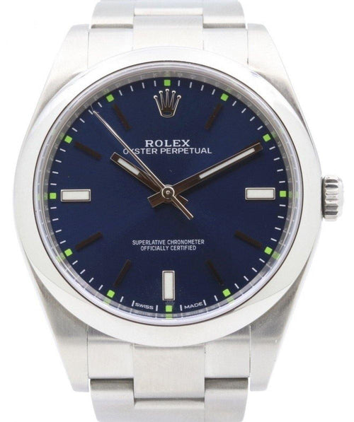 Men's Rolex Oyster Perpetual 39 Stainless Steel Blue Index Dial & Smooth Bezel Oyster Bracelet 114300 - PRE-OWNED - Global Timez
