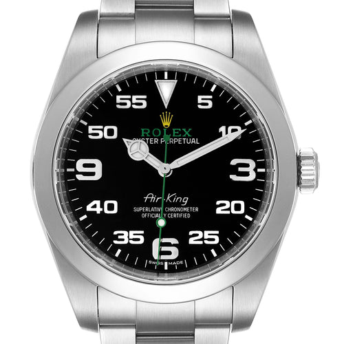 Men's Rolex Oyster Perpetual Air King 40mm Green Hand Steel Men's Watch 116900 PRE-OWNED - Global Timez