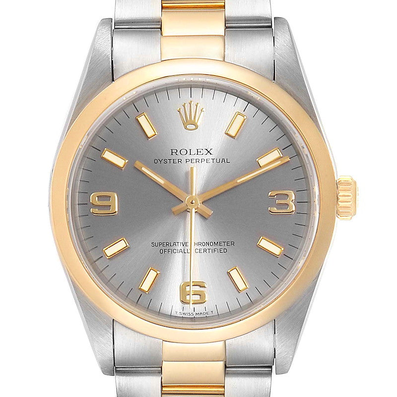 Rolex Oyster Perpetual Slate Dial Steel Yellow Gold Men's Watch 14203 PRE-OWNED
