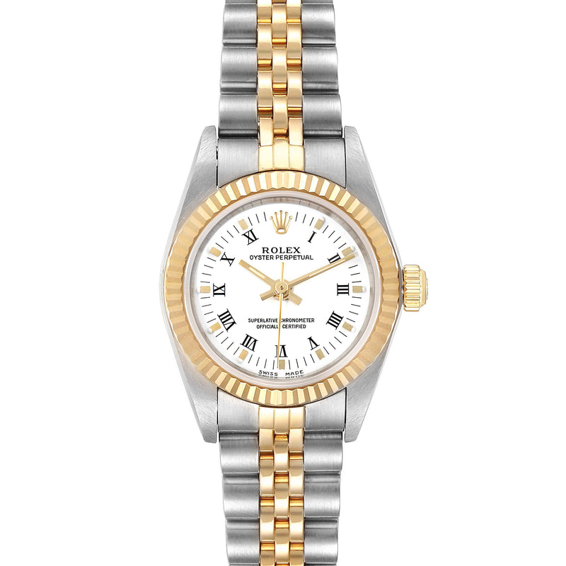 Rolex Oyster Perpetual NonDate Ladies Steel Yellow Gold Watch 76193 PRE-OWNED
