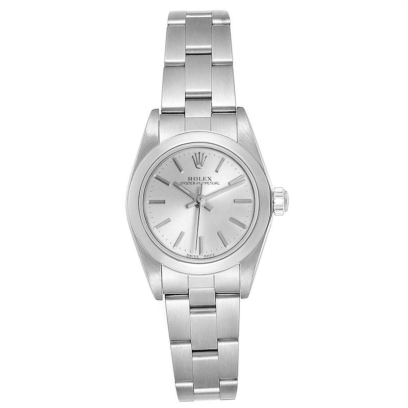 Rolex Oyster Perpetual Nondate Silver Dial Ladies Watch 76080 Box PRE-OWNED