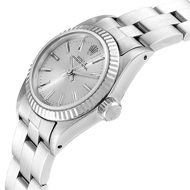 Rolex Oyster Perpetual Steel White Gold Silver Dial Ladies Watch 67194 PRE-OWNED