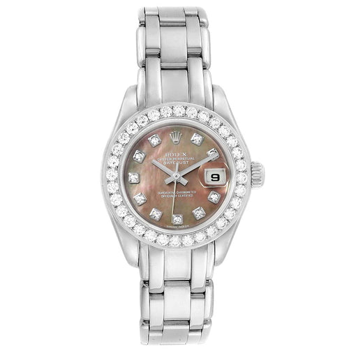 Rolex Pearlmaster 18K White Gold MOP Diamond Ladies Watch 80299 PRE-OWNED