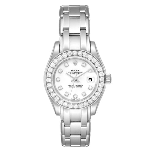 Rolex Pearlmaster 29mm White Gold Diamond Ladies Watch 80299 PRE-OWNED - Global Timez
