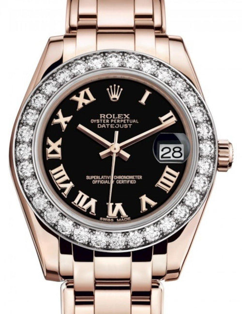 Ladies Rolex Pearlmaster 34 Rose Gold Black Roman Dial & Diamond Bezel Pearlmaster Bracelet 81285 - BRAND NEW - Global Timez