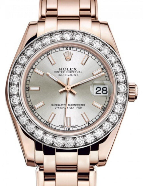 Ladies Rolex Pearlmaster 34 Rose Gold Silver Index Dial & Diamond Bezel Pearlmaster Bracelet 81285 - BRAND NEW - Global Timez