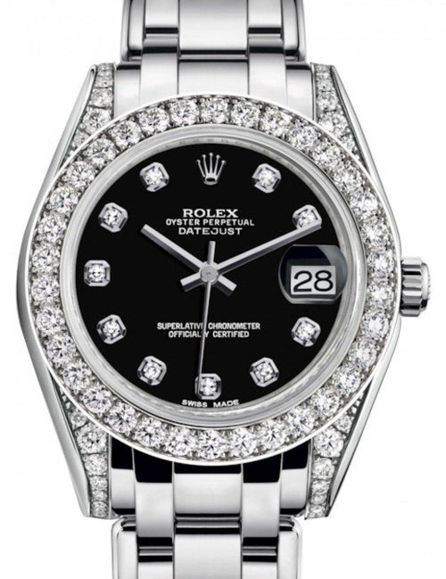 Ladies Rolex Pearlmaster 34 White Gold Black Diamond Dial & Diamond Set Case & Bezel Pearlmaster Bracelet 81159 - BRAND NEW - Global Timez
