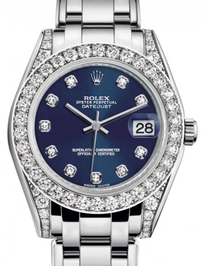 Ladies Rolex Pearlmaster 34 White Gold Blue Diamond Dial & Diamond Set Case & Bezel Pearlmaster Bracelet 81159 - BRAND NEW
