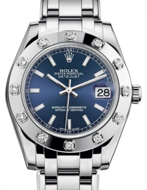 Ladies Rolex Pearlmaster 34 White Gold Blue Index Dial & Diamond Set Bezel Pearlmaster Bracelet 81319 - BRAND NEW - Global Timez