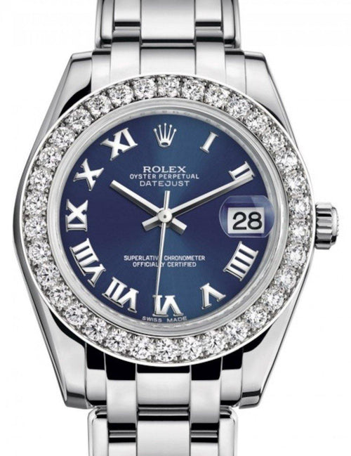 Ladies Rolex Pearlmaster 34 White Gold Blue Roman Dial & Diamond Bezel Pearlmaster Bracelet 81299 - BRAND NEW - Global Timez