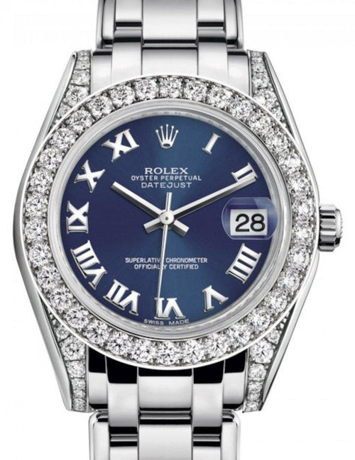 Ladies Rolex Pearlmaster 34 White Gold Blue Roman Dial & Diamond Set Case & Bezel Pearlmaster Bracelet 81159 - BRAND NEW - Global Timez