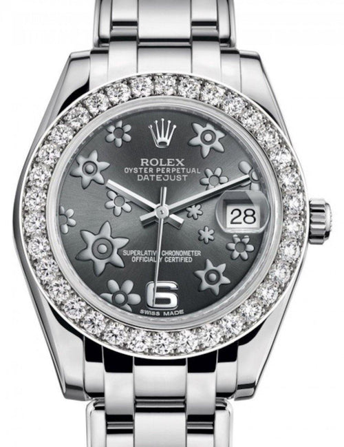Ladies Rolex Pearlmaster 34 White Gold Dark Rhodium Floral Motif Arabic Dial & Diamond Bezel Pearlmaster Bracelet 81299 - BRAND NEW - Global Timez