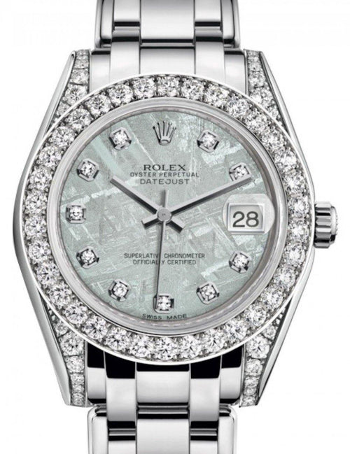 Ladies Rolex Pearlmaster 34 White Gold Meteorite Diamond Dial & Diamond Set Case & Bezel Pearlmaster Bracelet 81159 - BRAND NEW - Global Timez