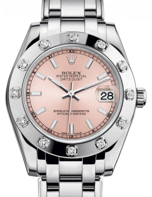 Ladies Rolex Pearlmaster 34 White Gold Pink Index Dial & Diamond Set Bezel Pearlmaster Bracelet 81319 - BRAND NEW - Global Timez