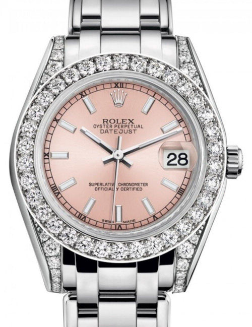 Ladies Rolex Pearlmaster 34 White Gold Pink Index Dial & Diamond Set Case & Bezel Pearlmaster Bracelet 81159 - BRAND NEW - Global Timez