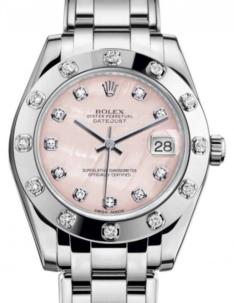 Ladies Rolex Pearlmaster 34 White Gold Pink Mother of Pearl Diamond Dial & Diamond Set Bezel Pearlmaster Bracelet 81319 - BRAND NEW