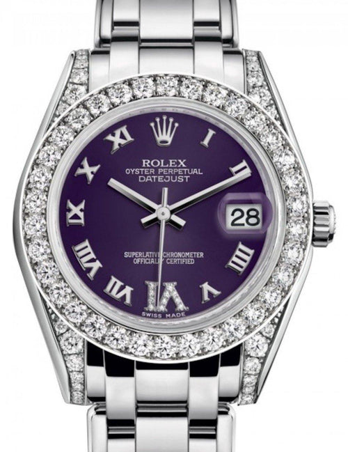 Ladies Rolex Pearlmaster 34 White Gold Purple Roman & Diamond VI Dial & Diamond Set Case & Bezel Pearlmaster Bracelet 81159 - BRAND NEW - Global Timez