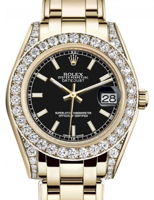 Ladies Rolex Pearlmaster 34 Yellow Gold Black Index Dial & Diamond Set Case & Bezel Pearlmaster Bracelet 81298 - BRAND NEW - Global Timez