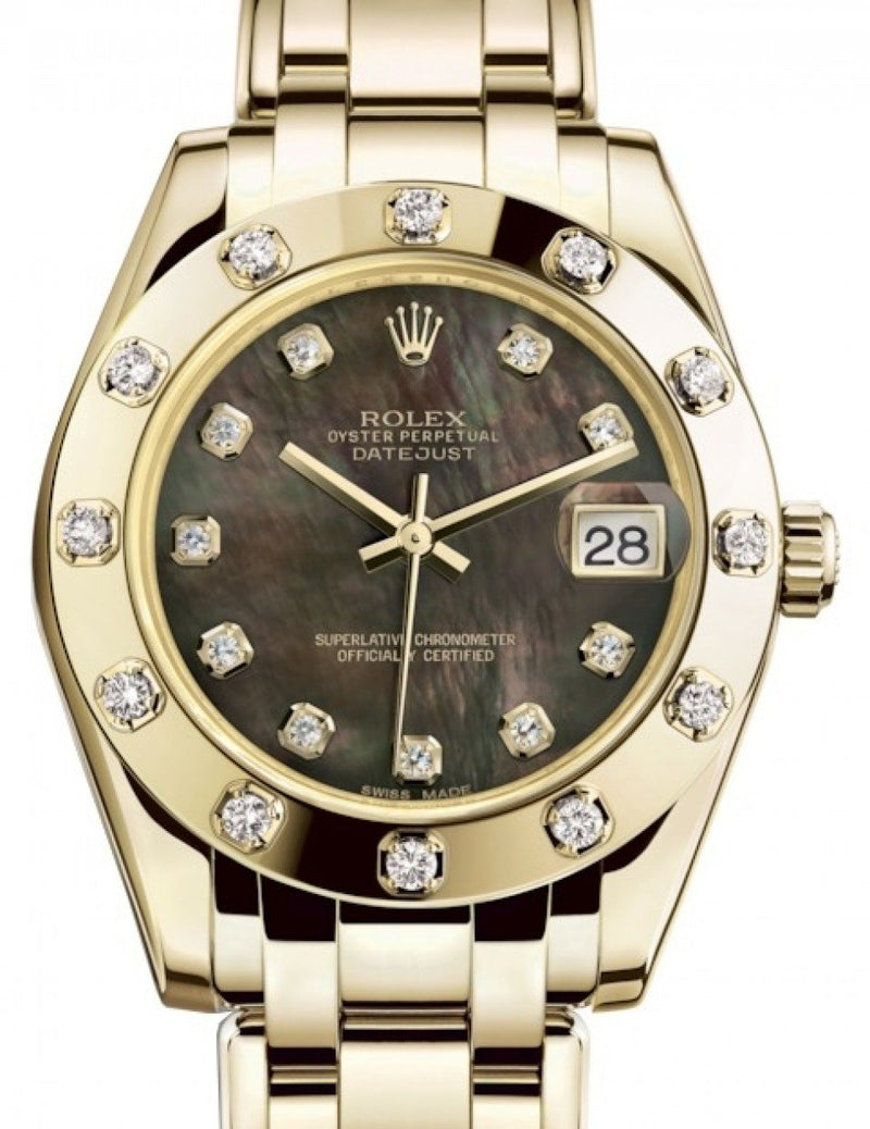 Ladies Rolex Pearlmaster 34 Yellow Gold Black Mother of Pearl Diamond Dial & Diamond Set Bezel Pearlmaster Bracelet 81318 - BRAND NEW
