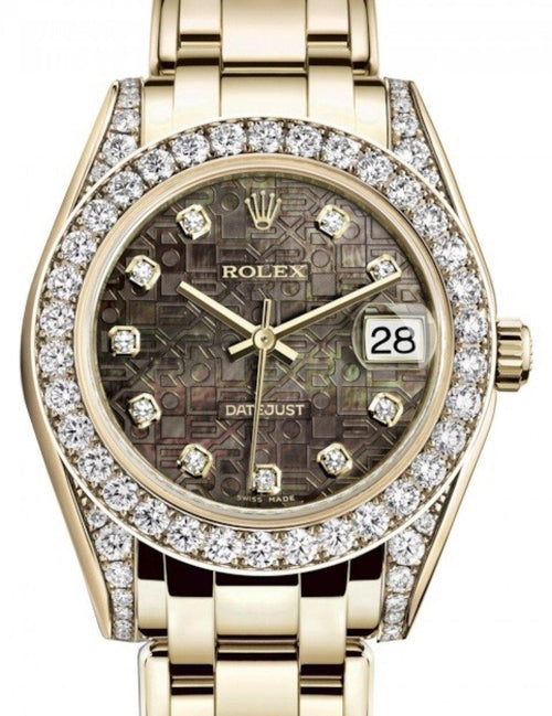 Ladies Rolex Pearlmaster 34 Yellow Gold Black Mother of Pearl Jubilee Diamond Dial & Diamond Set Case & Bezel Pearlmaster Bracelet 81298 - BRAND NEW - Global Timez